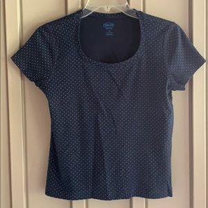 Talbots Blue Polka Dot Short Sleeve Shirt size Small